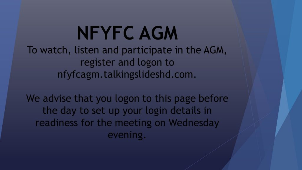 NFYFC AGM Wednesday 26th August 2020 at 7.30pm